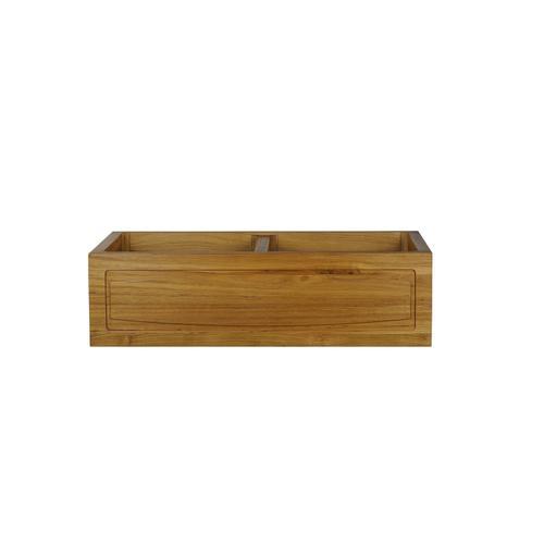 "Luana 36"" Arched Double Bowl Teak Kitchen Sink"
