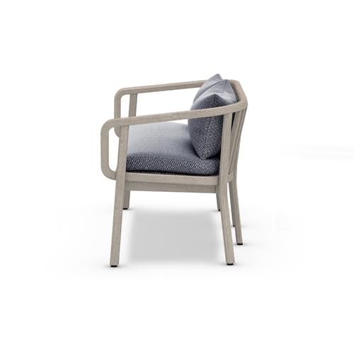 Faye Navy Cover Tate Outdoor Bench, Weathered Grey