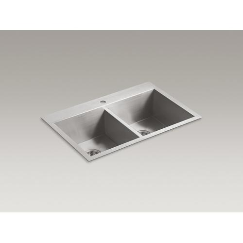"""33"""" X 22"""" X 9-5/16"""" Top-mount/undermount Double-equal Bowl Kitchen Sink With Single Faucet Hole"""
