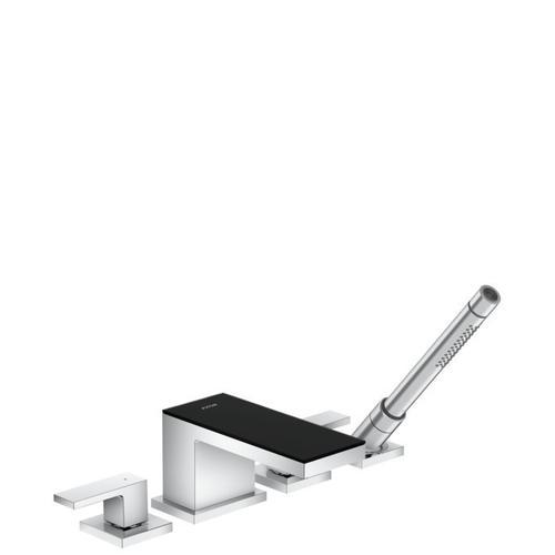 Chrome / Black Glass 4-Hole Roman Tub Set Trim with 1.75 GPM Handshower