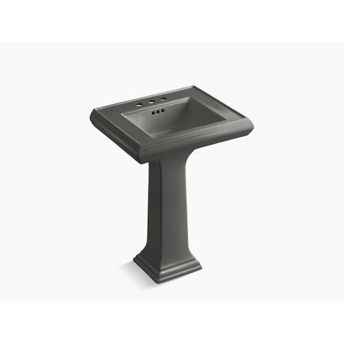 """Thunder Grey Classic 24"""" Pedestal Bathroom Sink With 4"""" Centerset Faucet Holes"""