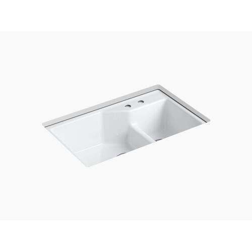 """White 33"""" X 21-1/8"""" X 9-3/4"""" Smart Divide Undermount Large/small Double-bowl Workstation Kitchen Sink With 2 Faucet Holes"""