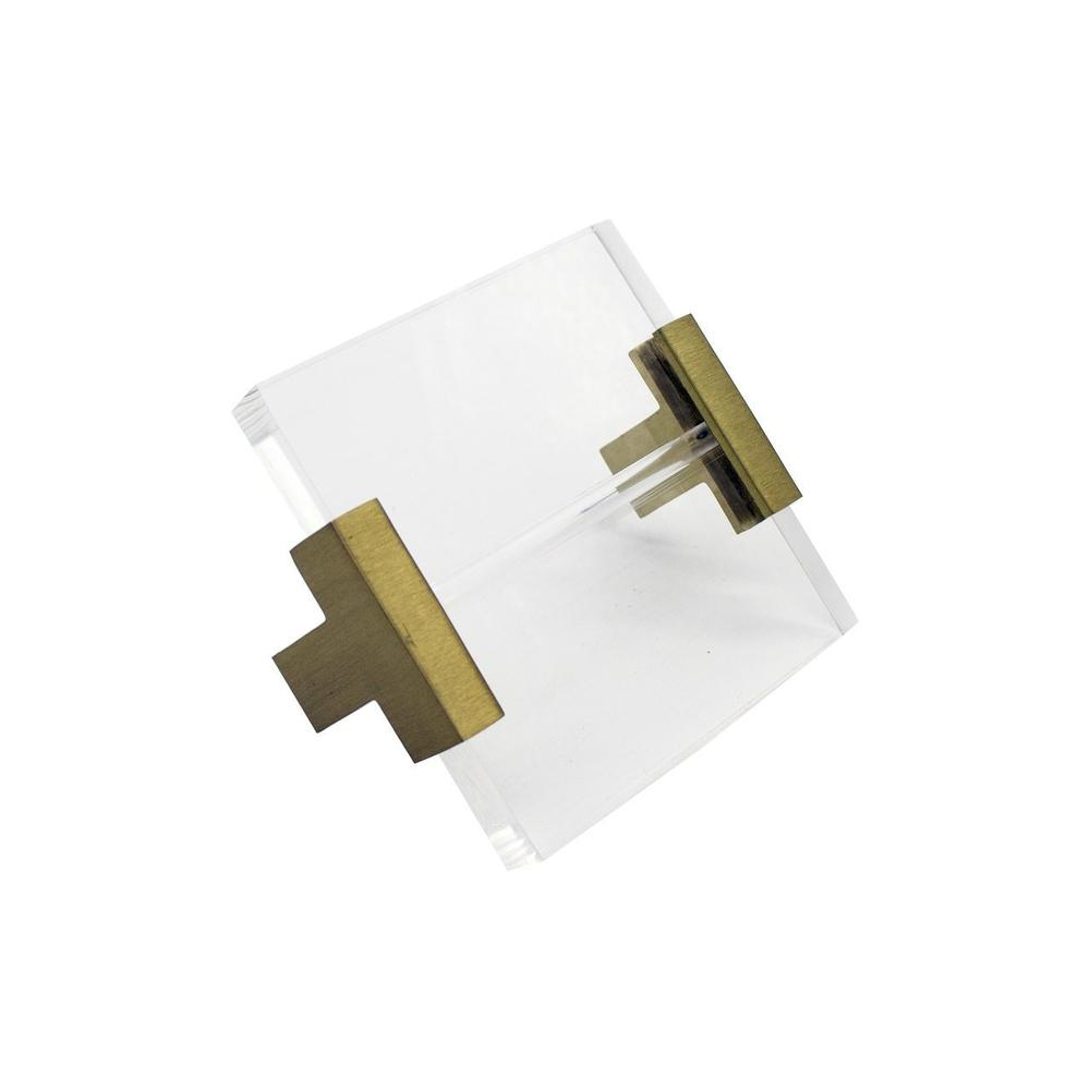 Acrylic Square Handle With Antique Brass Brackets