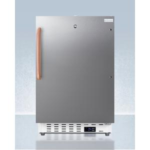 SummitBuilt-in Undercounter ADA Compliant +2(degree)c To +8(degree)c Commercially Approved All-refrigerator With White Cabinet and Stainless Steel Door, Pure Copper Towel Bar Handle, Lock, Digital Controls, Wire Shelving, Hospital Cord With 'green Dot' Plug, Fa