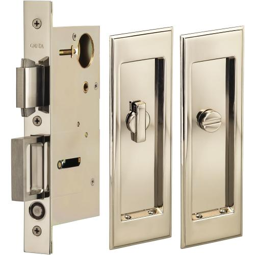 Product Image - Pocket Door Lock with Traditional Rectangular Trim featuring Turnpiece and Emergency Release in (US14 Polished Nickel Plated, Lacquered)