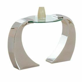 ACME Metro End Table - 07572 - Chrome Plated & Clear Glass