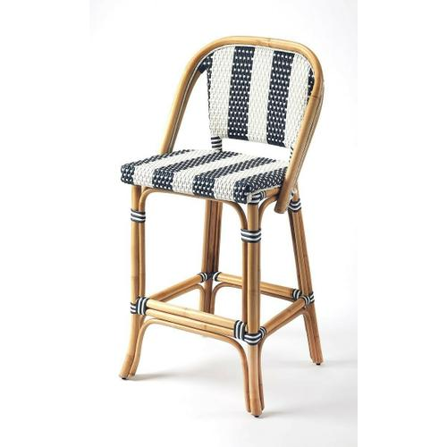 Butler Specialty Company - Evoking images of sidewalk tables in the Cote d' Azur; barstools like this will give your kitchen or patio the casual sophistication of a Mediterrnean coastal bistro. Skillfully crafted from thick bent rattan for superb durability; it features weather resistant woven plastic in an updated and fresh pattern. This barstool is lightweight for easy mobility with comfort to make the space it's in a frequent gathering place.