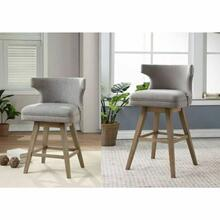 ACME Everett Counter Height Chair (Set-2) - 96460 - Fabric & Oak