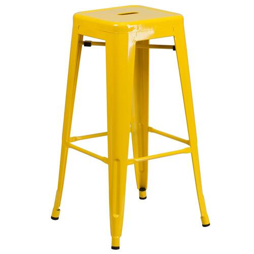 Alamont Furniture - 30'' High Backless Yellow Metal Indoor-Outdoor Barstool with Square Seat