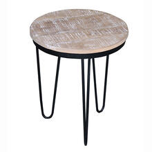 Round End Table - Natural Reclaimed/Iron Finish