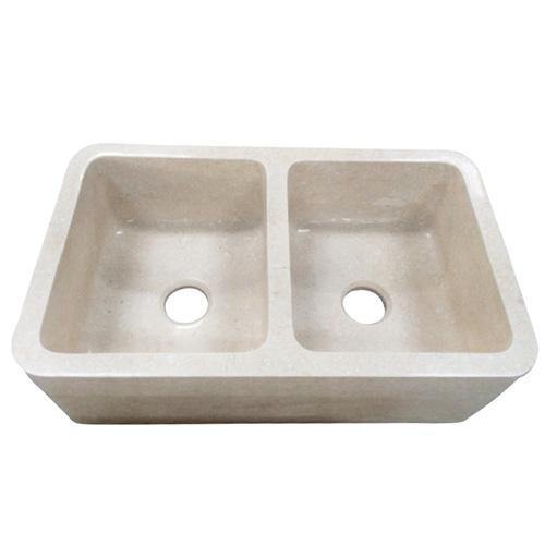 """Chicot Double Bowl Marble Farmer Sink - 33"""""""