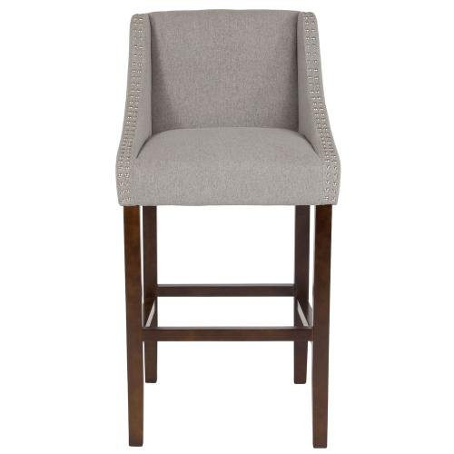 """Alamont Furniture - 30"""" High Transitional Tufted Walnut Barstool with Accent Nail Trim in Light Gray Fabric"""