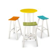 White & Aruba / Lime / Tangerine / Lemon Contempo 4-Piece Saddle Bar Stool Set