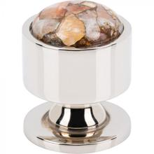 View Product - FireSky Mohave Yellow Knob 1 1/8 Inch Polished Nickel Base Polished Nickel
