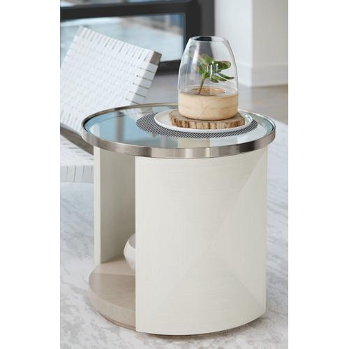Axiom Round Chairside Table in Linear Gray (381), Linear White (381), Brushed Silver
