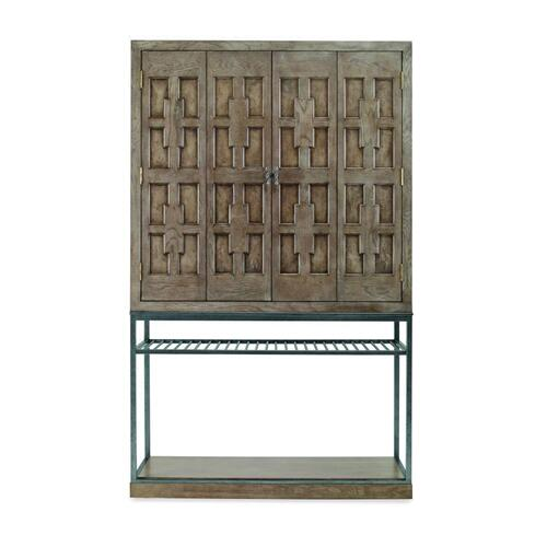 See Details - Casa Bella Burl Bar Cabinet Timber Grey Finish