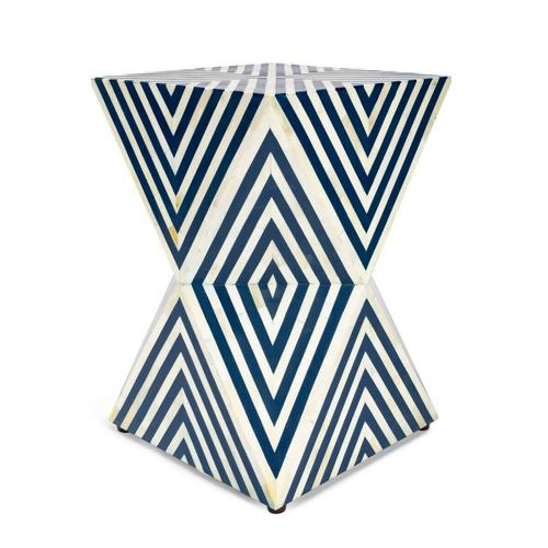 An inspired addition to the living room, bedroom or bath, this unique accent is functional art. Hand-cut and individually formed, bone inlays are hand arranged in a transfixing geometric pattern of blue and white, this bunching end table is carefully hand