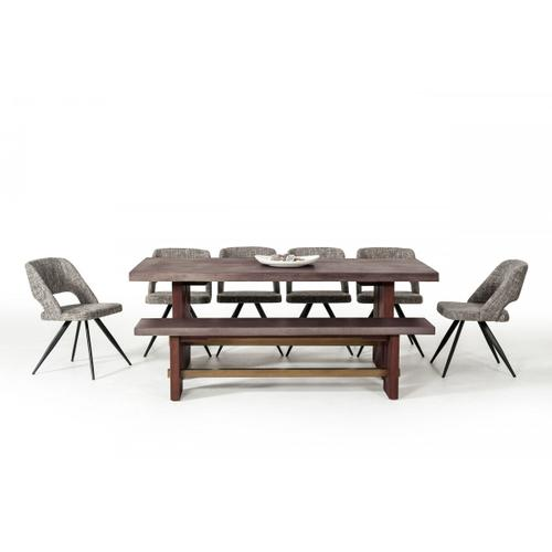 Gallery - Modrest Amos Modern Concrete & Acacia Dining Table