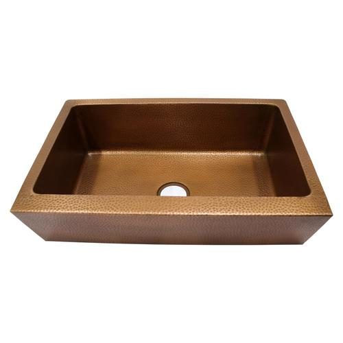 """Grecia Single Bowl Copper Farmer Sink - 33"""""""