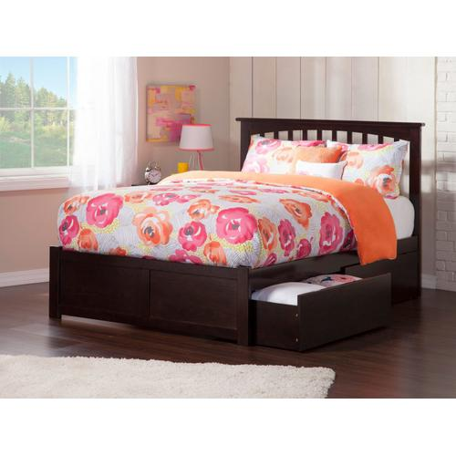 Mission Full Flat Panel Foot Board with 2 Urban Bed Drawers Espresso