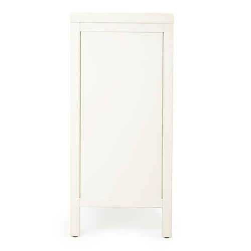 This stylish console cabinet combines Modern minimalism with Eastern design elements. Featuring clean lines and a White finish, its inner storage cabinet and two drawers make it a great addition in an entryway, hallway or living room. Crafted from bayur w