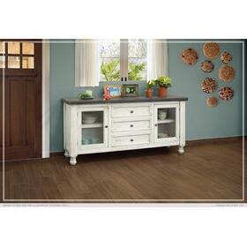See Details - 2 Glass Doors & 3 Drawer Buffet Stone finish