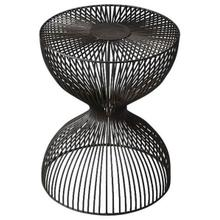 The open hour-glass figure of this Nicholas Iron Cage adds dimension and texture. The dark finish adds depth while the spaces between the iron wire allow for an open design.