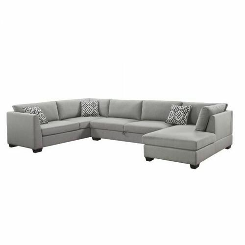 ACME Cyclamen Sectional Sofa w/Storage (3 Pillows) - 53105 - Gray Linen