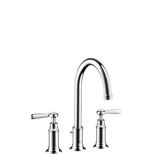 Brushed Red Gold 3-hole basin mixer 180 with lever handles and pop-up waste set