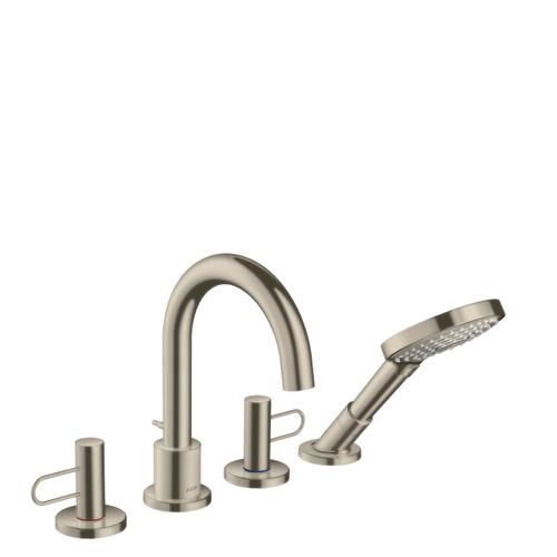 Brushed Nickel 4-hole rim mounted bath mixer with loop handles