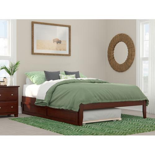 Atlantic Furniture - Colorado Queen Bed with USB Turbo Charger and Twin Extra Long Trundle in Walnut