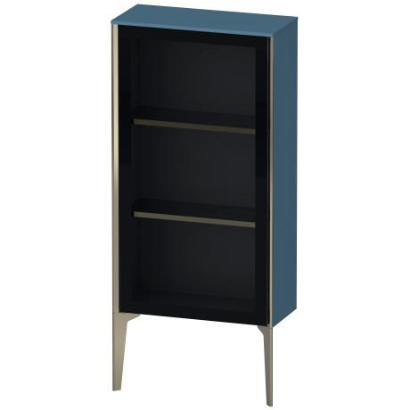 Product Image - Semi-tall Cabinet With Mirror Door Floorstanding, Stone Blue High Gloss (lacquer)