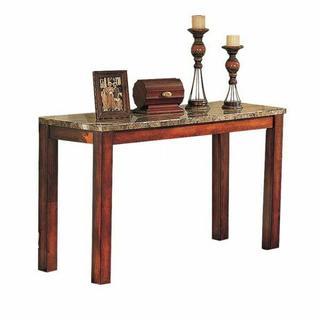 ACME Bologna Sofa Table - 07374B - Brown Marble & Brown Cherry