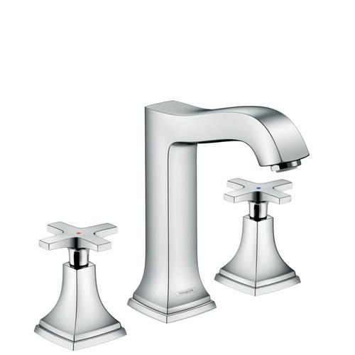 Chrome Widespread Faucet 160 with Cross Handles and Pop-Up Drain, 1.2 GPM