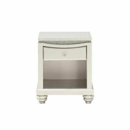 ACME Maverick Nightstand w/1 Drw - 31808 - Glam - Wood (Poplar), MDF - Platinum