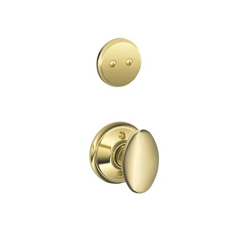Camelot In-active Handleset and Siena Knob - Bright Brass