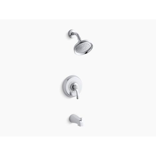 Kohler - Polished Chrome Rite-temp Bath and Shower Valve Trim With Lever Handle, Slip-fit Spout and 2.5 Gpm Showerhead