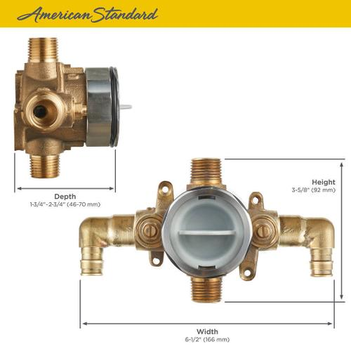 American Standard - Flash Shower Rough-in Valve with PEX Inlet Elbows/Universal Outlets with Screwdriver Stops for Cold Expansion System  American Standard -