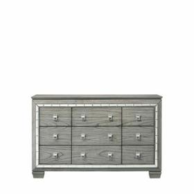 ACME Antares Dresser - 21825 - Glam, Transitional - Mirror, Wood (Solid Rbw), MDF, PB - Light Gray Oak