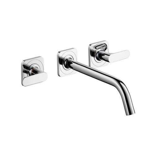 Chrome 3-hole basin mixer for concealed installation wall-mounted with spout 226 mm, lever handles and escutcheons
