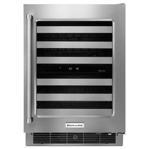"KitchenAid24"" Stainless Steel Wine Cellar with Metal-Front Racks Stainless Steel"