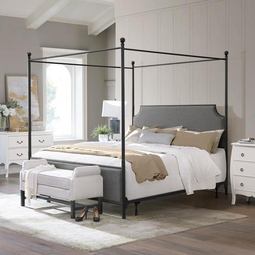 Mcarthur King Metal and Upholstered Canopy Bed, Matte Black With Gray Fabric