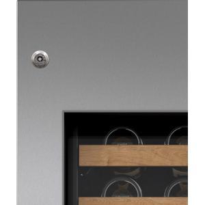 "SubzeroStainless Steel Door Panel with Tubular Handle and Lock and 4"" Toe Kick - Left Hinge"