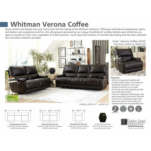 Parker House - WHITMAN - VERONA COFFEE - Powered By FreeMotion Power Cordless Sofa