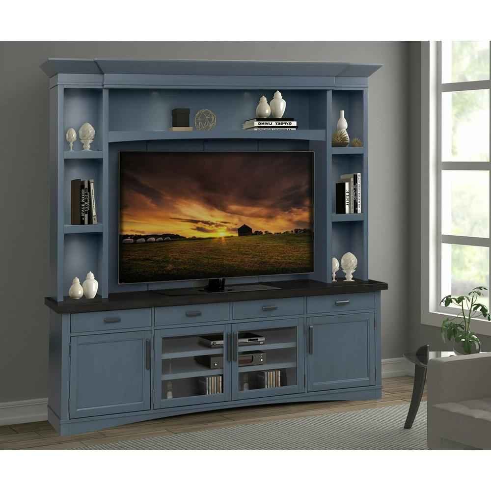 See Details - AMERICANA MODERN - DENIM 92 in. TV Console with Hutch, Backpanel and LED Lights