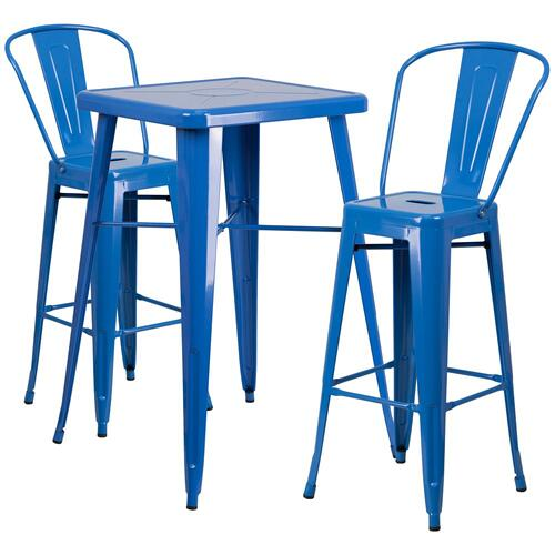 Alamont Furniture - 23.75'' Square Blue Metal Indoor-Outdoor Bar Table Set with 2 Stools with Backs