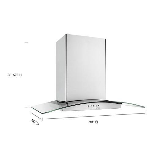 "Whirlpool - 30"" Modern Glass Wall Mount Range Hood"