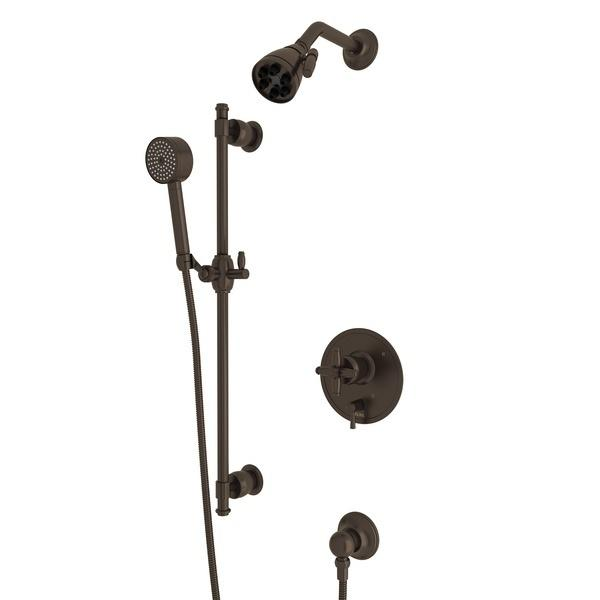 Tuscan Brass Zephyr Pressure Balance Shower Package with Cross Handle Zephyr Series Only