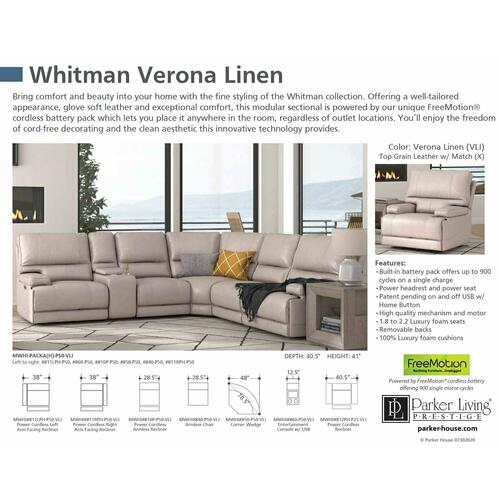 WHITMAN - VERONA LINEN - Powered By FreeMotion Power Cordless Right Arm Facing Recliner