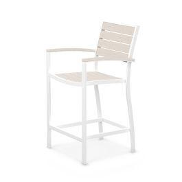 Polywood Furnishings - Eurou2122 Counter Arm Chair in Satin White / Sand